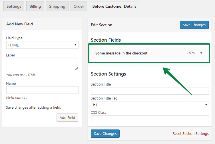 Some message - fields settings
