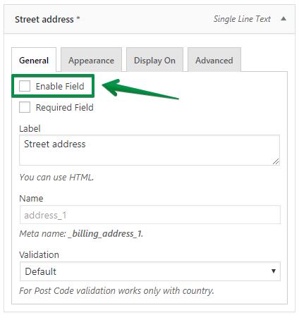 Street Address: disable field