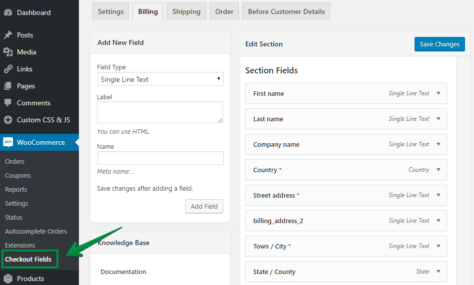 Flexible Checkout Fields Settings Page