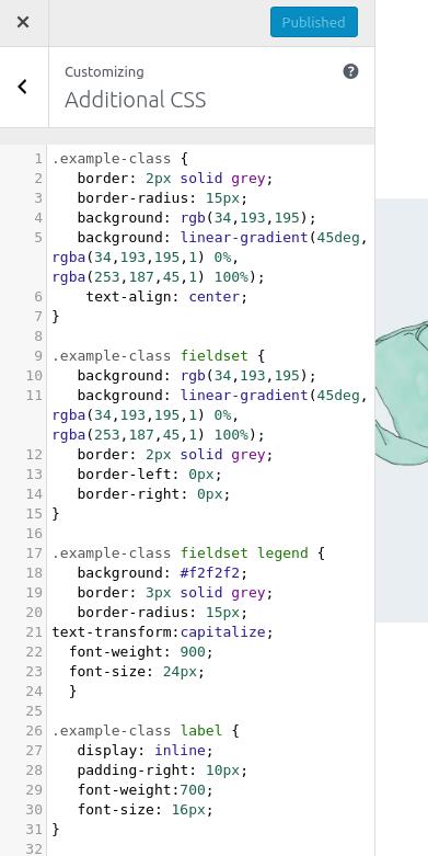 Example custom CSS