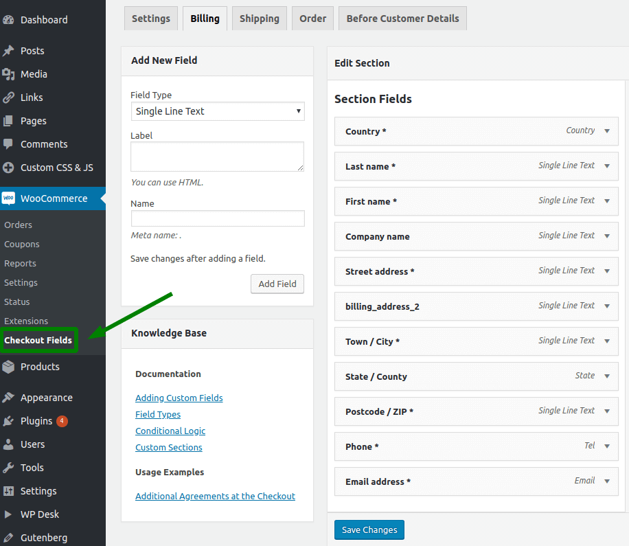 Checkout Fields Configuration Screen