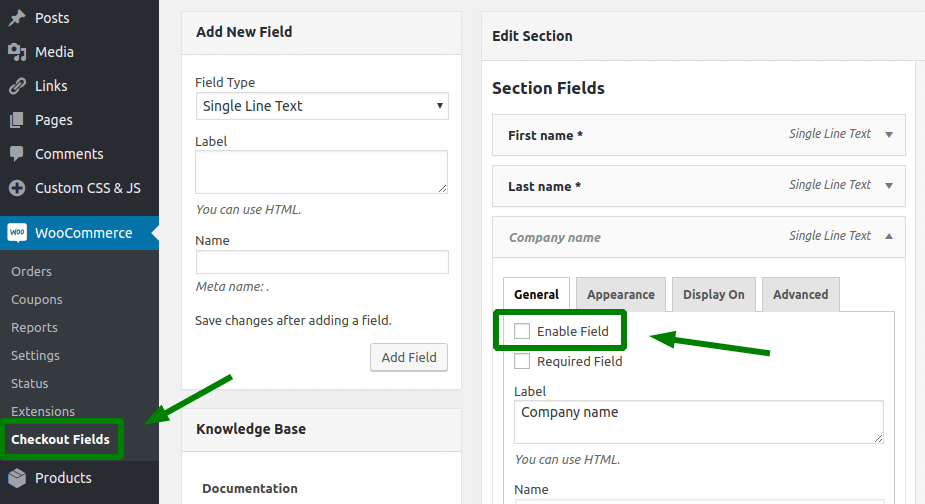 WooCommerce checkout without address due to disabling fields