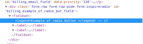 Legend element in the code