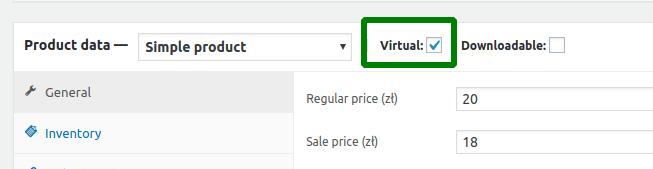 Virtual product settings