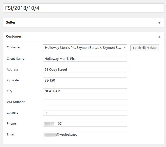 Customer details