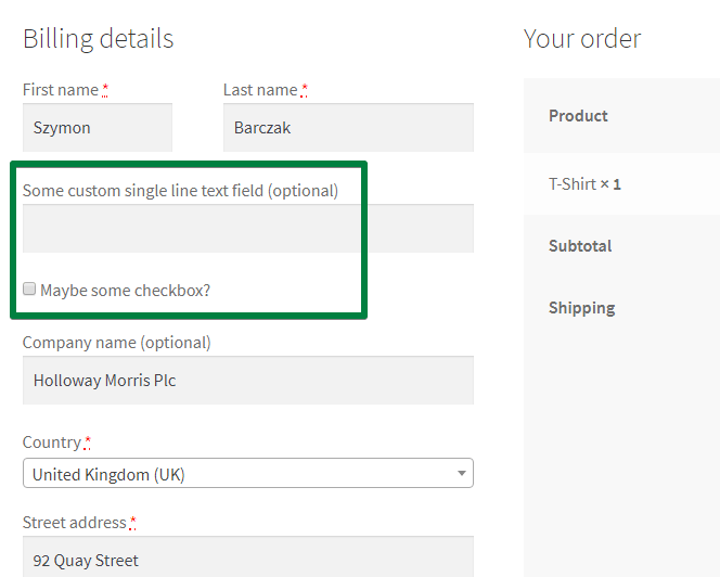 WooCommerce Checkout Extra Fields - two extra fields in the checkout