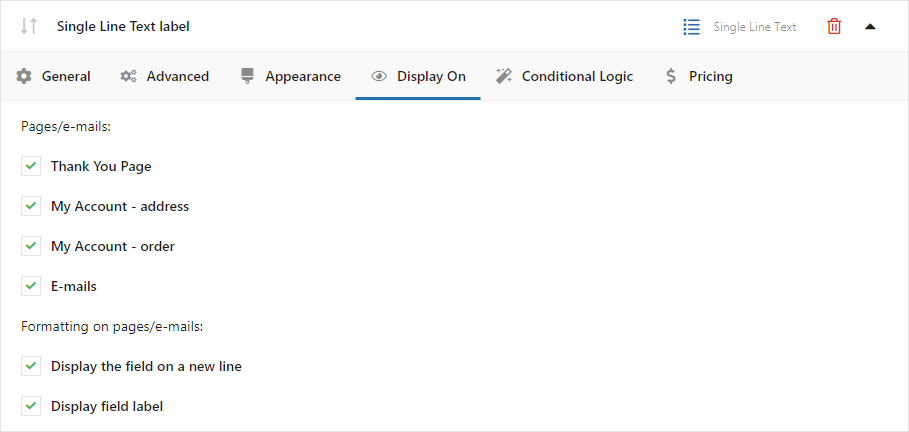 Display on setting in Flexible Checkout Fields Plugin