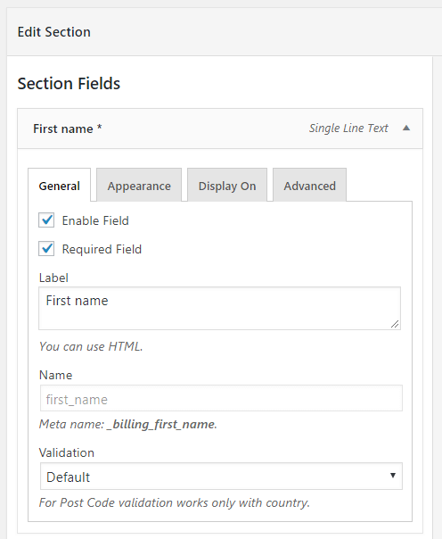 General settings in custom checkout field configuration