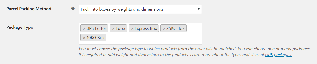 UPS WooCommerce PRO - box packing of WooCommerce order settings