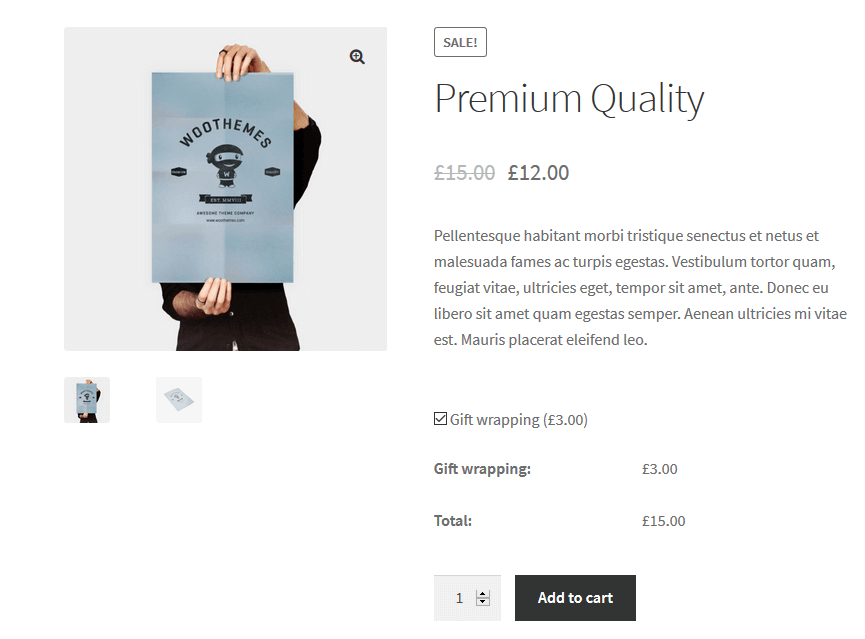 Add gift wrapping in WooCommerce - example
