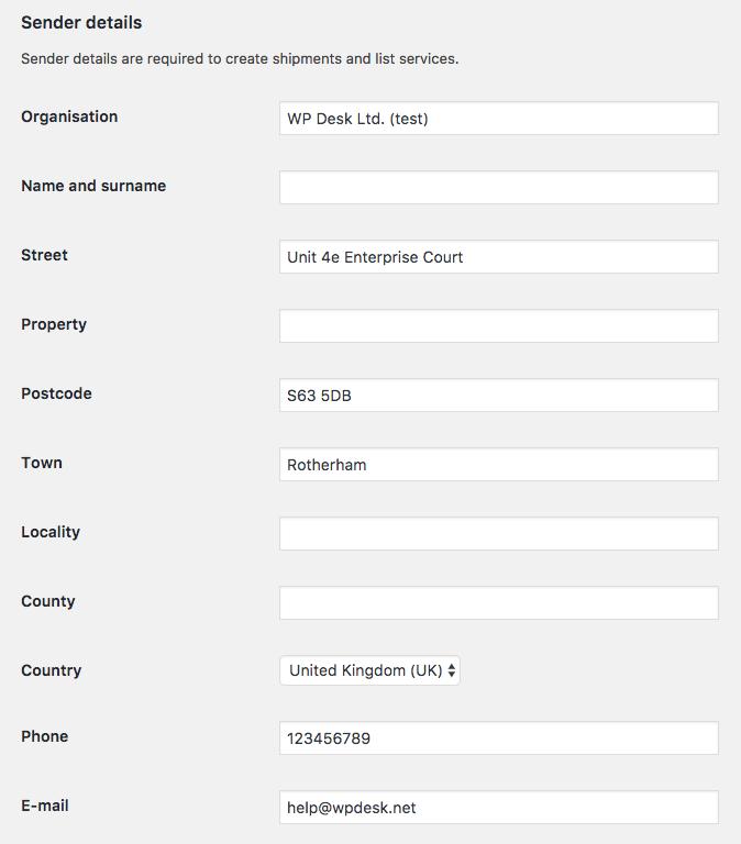 Sender details in DPD Local WooCommerce