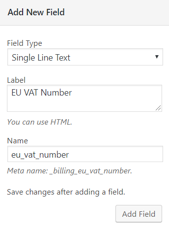 Add EU Vat field in WooCommerce checkout page