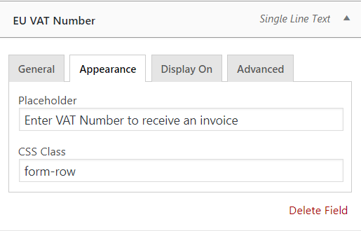 appearance setting on EU VAT number field in WooCommerce checkout page