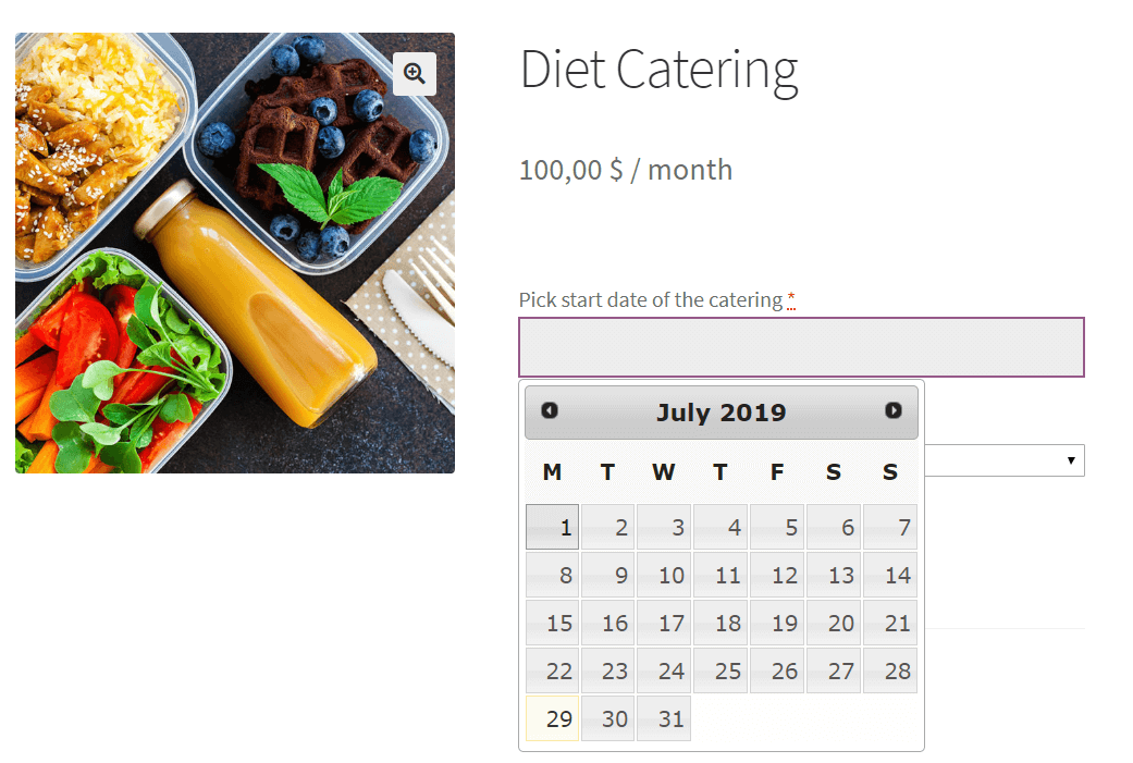 Date field in diet catering example