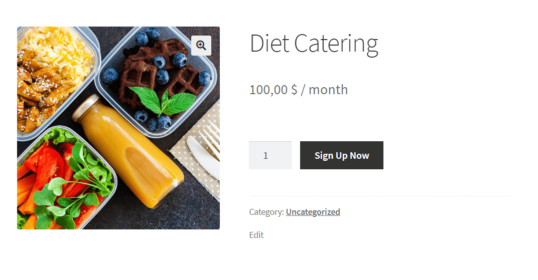 Diet catering example in WooCommerce