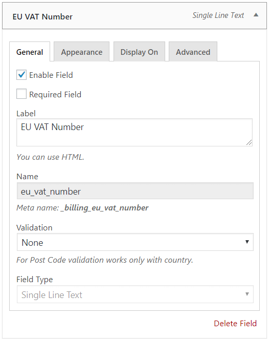 General setting on EU VAT number field in WooCommerce checkout page
