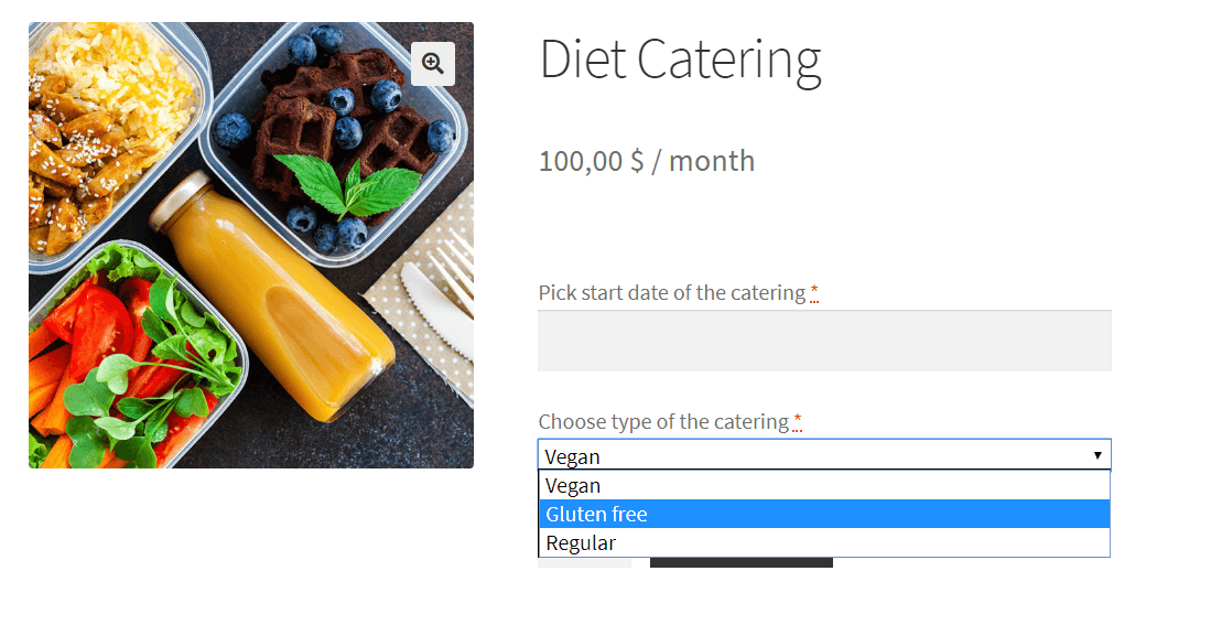 Select field in diet catering example