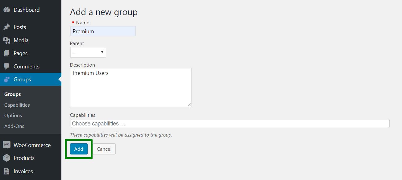 add new group in WooCommerce