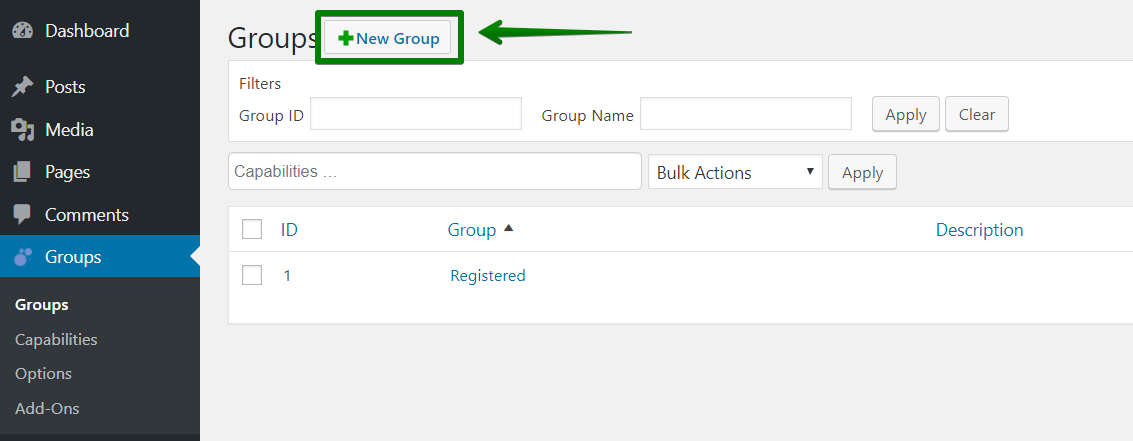 new group button in WooCommerce
