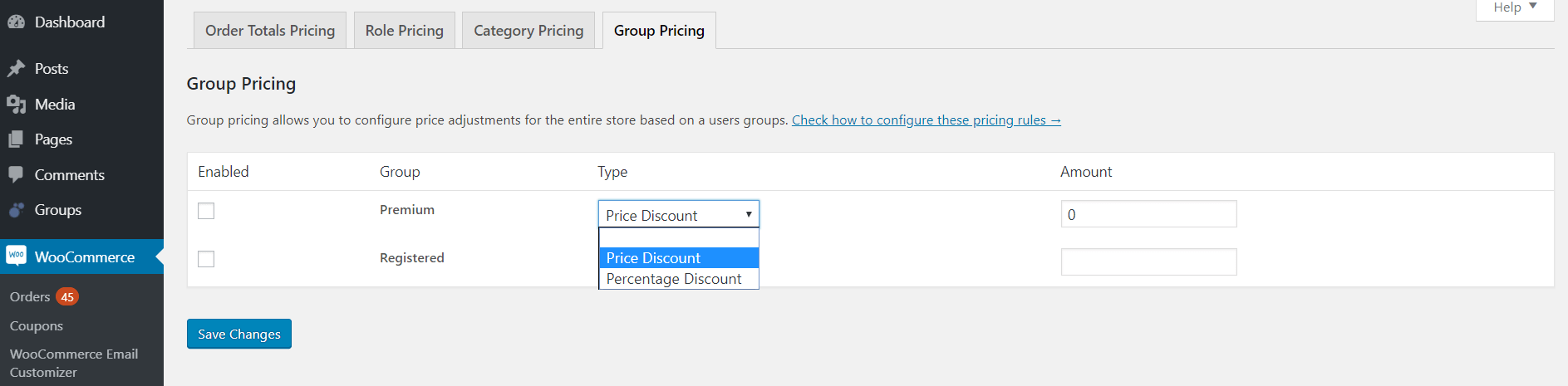 WooCommerce group pricing rule