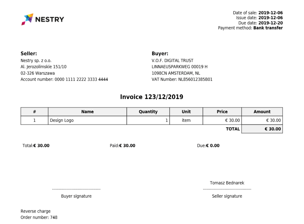 Invoice reverse charge