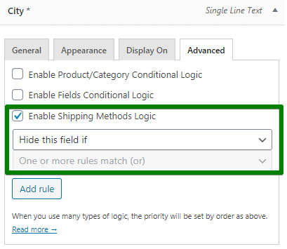 Checkout Fields Settings shipping method logic