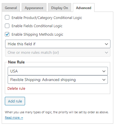 Checkout Fields Settings shipping method