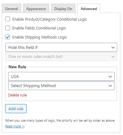 Checkout Fields Settings USA
