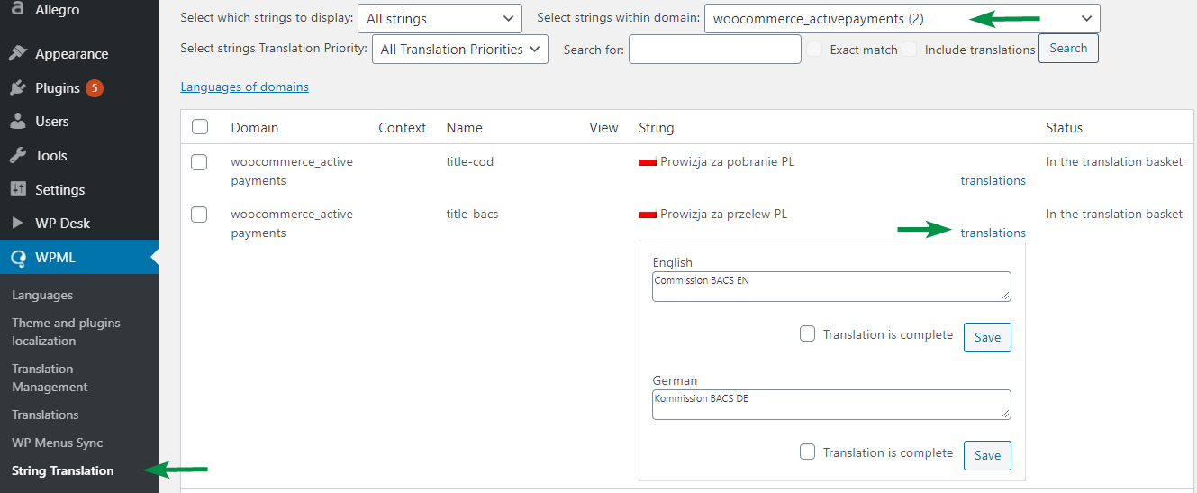 String Translation of Fee Titles for Active Payments WooCommerce