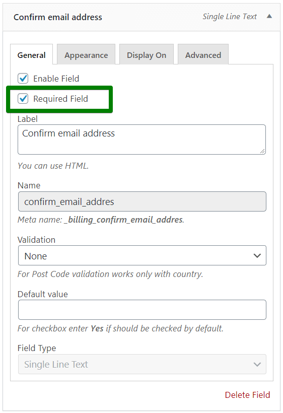 Required custom checkout field