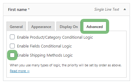 Flexible Checkout Fields advanced tab - show or hide a checkout field