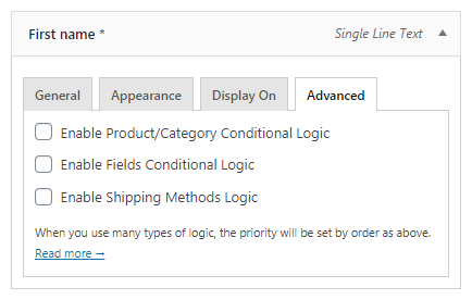 Flexible Checkout Fields conditional logic rules - show or hide a checkout field