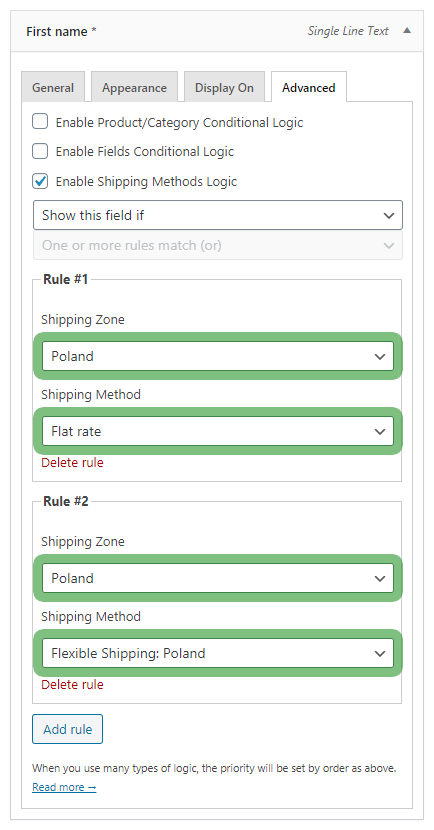 Flexible Checkout Fields shipping methods logic rules - show or hide a checkout field
