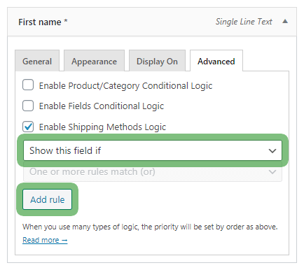 Flexible Checkout Fields shipping methods logic - show or hide a checkout field