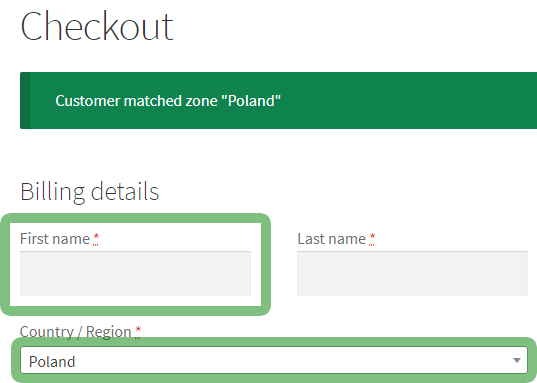 Flexible Checkout Fields visible field