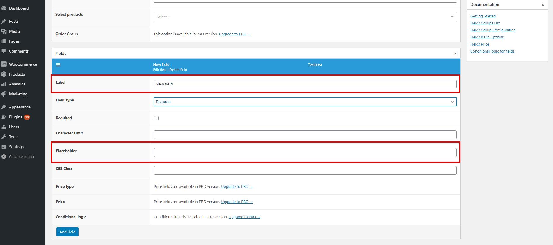 WooCommerce Flexible Product Fields WPML textarea