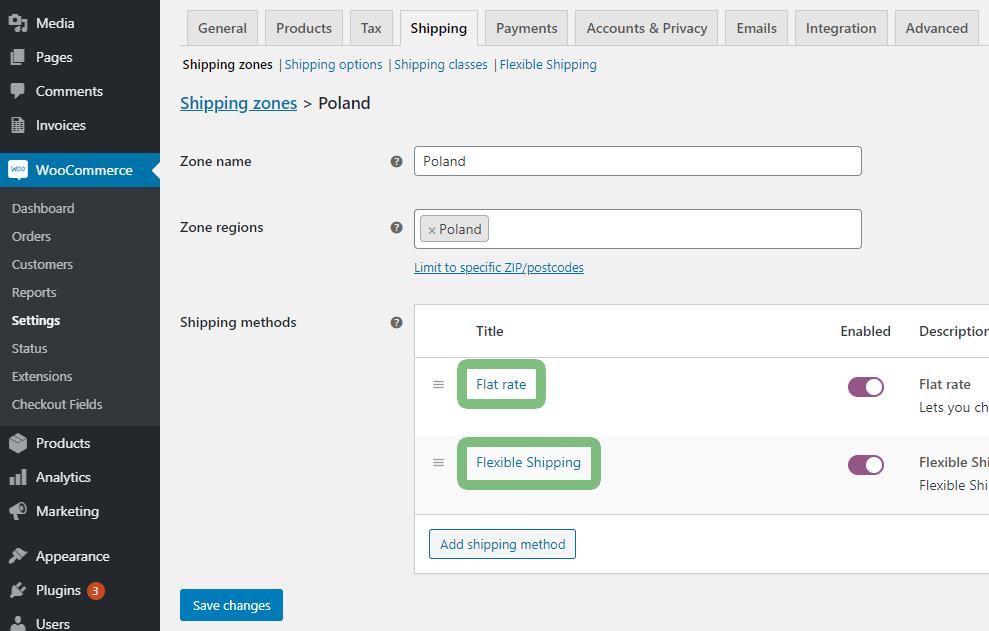 WooCommerce shipping methods options