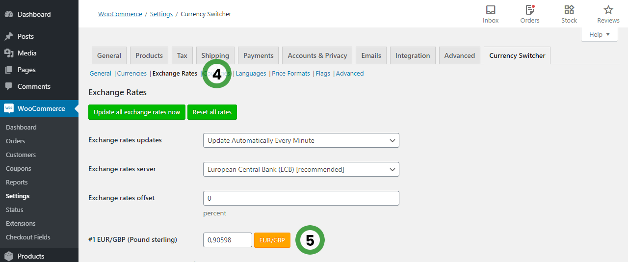 Currency Switcher for WooCommerce options