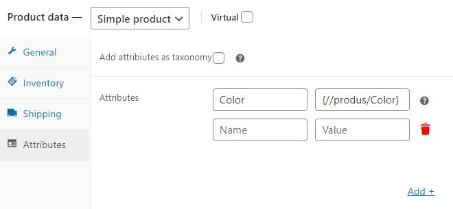 Dropshipping XML WooCommerce Settings Attributes