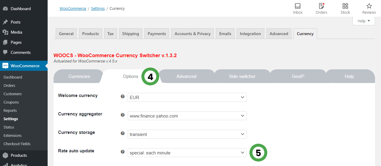 WooCommerce Currency Switcher options