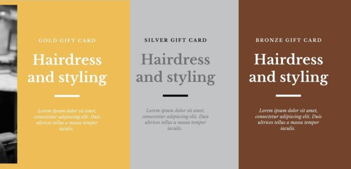 Gold Silver Bronze Voucher package variations in WooCommerce
