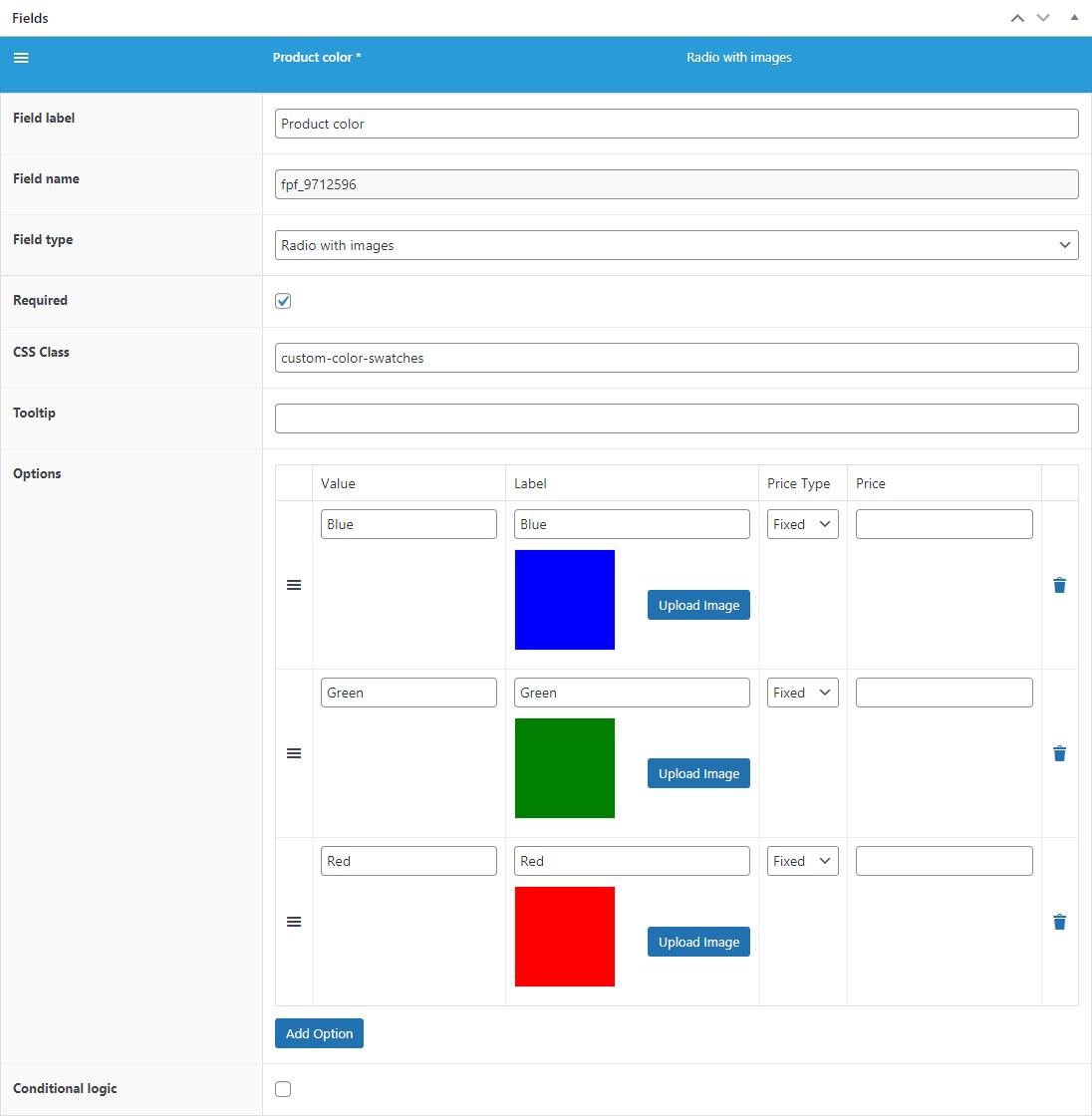 Flexible Product Fields - field settings