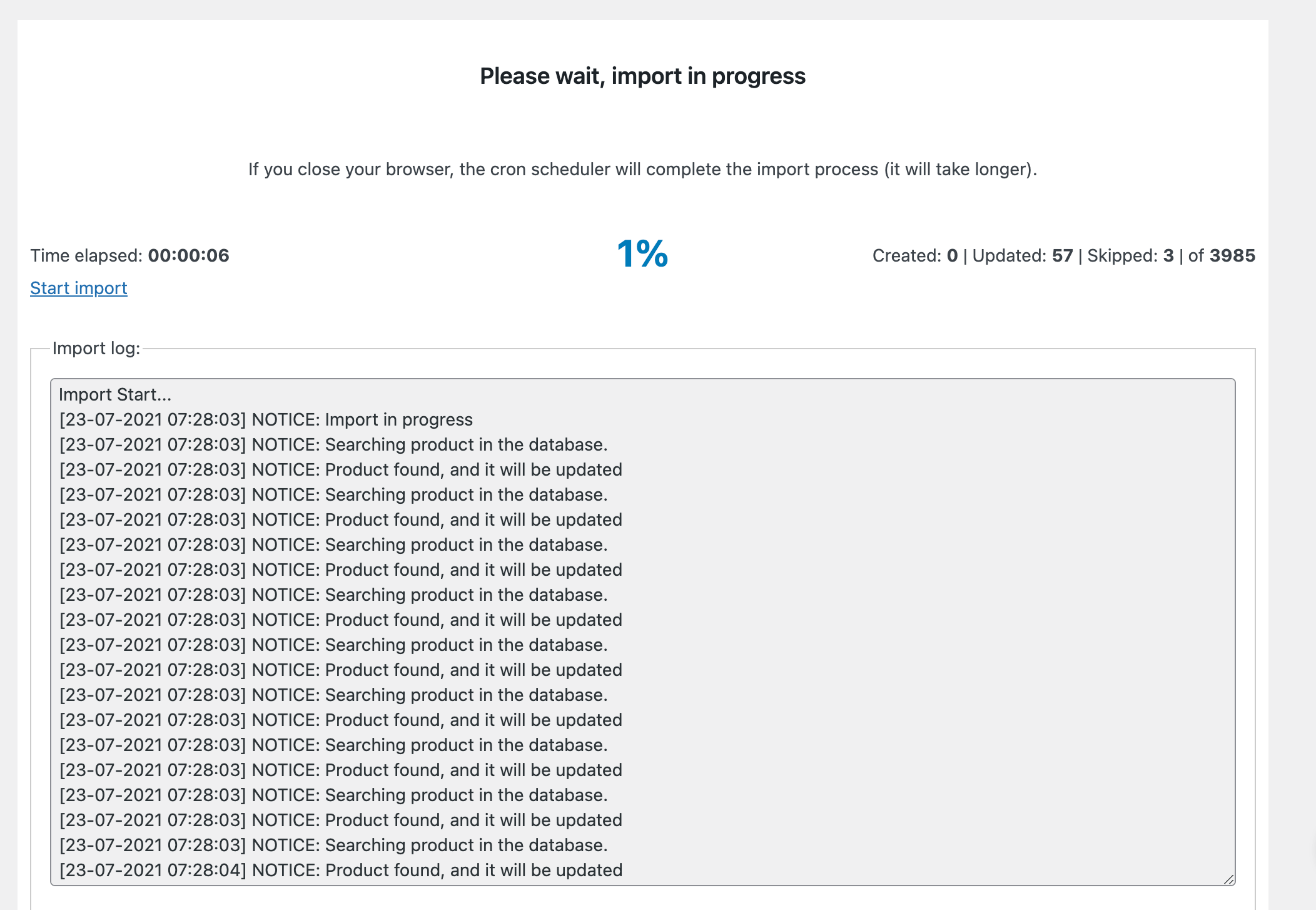 import log window