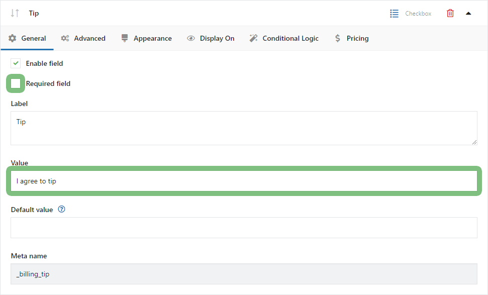 Tip in the WooCommerce store on the Checkout page - General